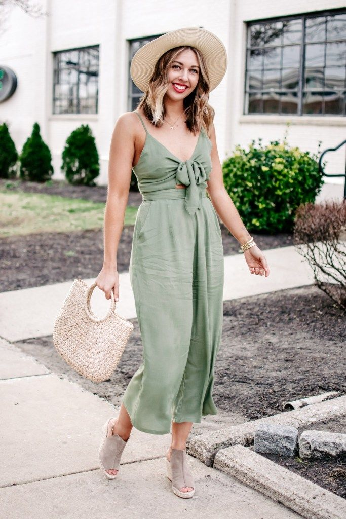 b6b8b6ccc9cd The cutest green jumpsuit that s perfect for spring or summer. A boater hat
