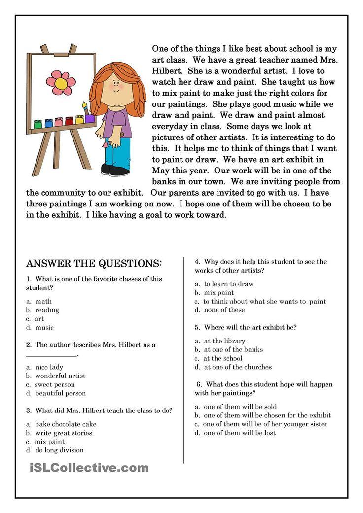 23 Best Esl Level 1 Reading Comprehension Images On Pinterest  Printable Worksheets, English