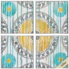 Spring Ikat 4 Piece Framed Graphic Art Set