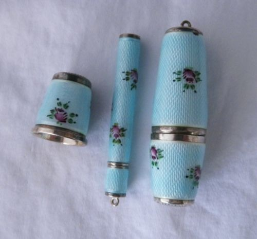 Vintage Enamel Guilloche Sterling Silver Thimble & more