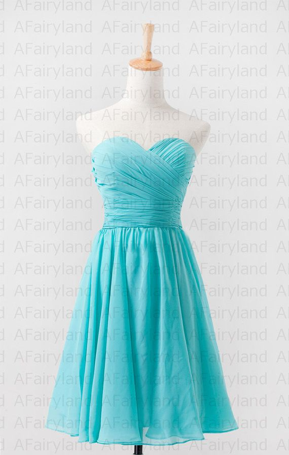 Chiffon bridesmaid dress party dress in knee-length/strapless/sweetheart neckline/aqua blue/light teal on Etsy, $58.00