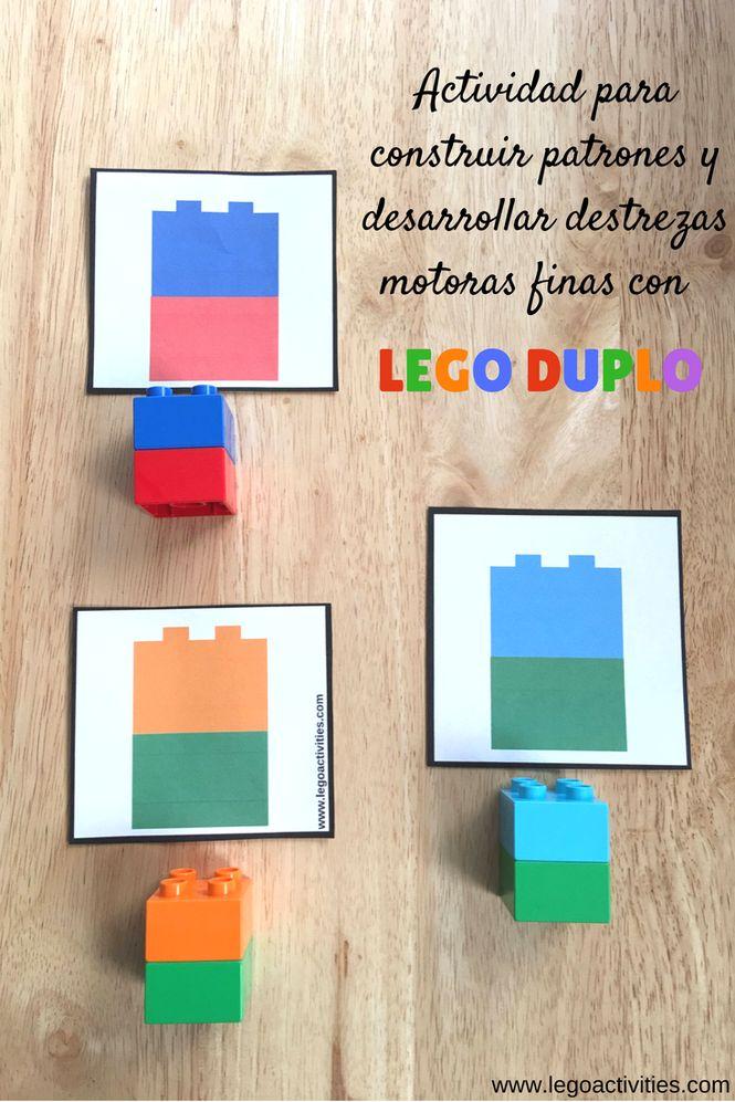 Actividad para construir patrones con LEGO DUPLO | Free LEGO DUPLO pattern cards | Fine motor activity with LEGO DUPLO| www.legoactivities.com