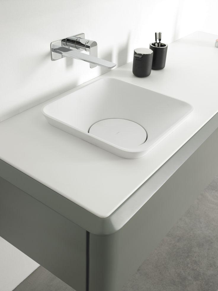 Square Cristalplant® washbasin Semi-inset washbasin Fluent Collection by INBANI | design Arik Levy