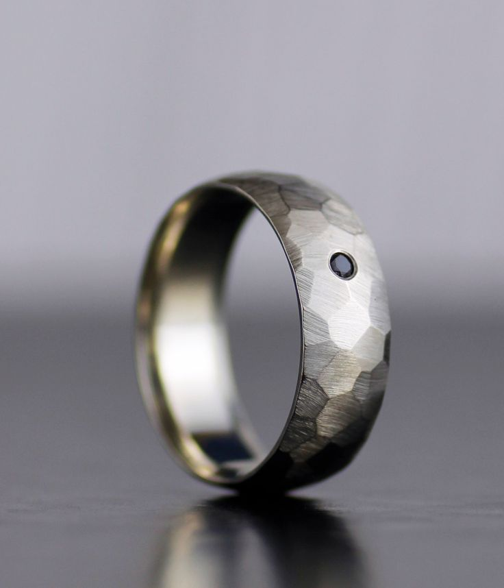 men's black diamond wedding band - gold or platinum hand faceted comfort fit wedding band for him or her - his his - hers hers - his hers by lolide on Etsy