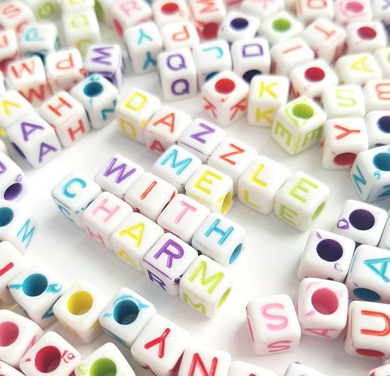 325pcs-6mm square letter acrylic plastic beads fun colorful