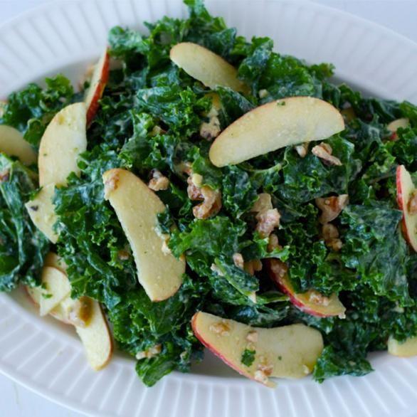 Raw Kale Salad with Apple and Creamy Avocado Dressing - Shape Magazine ...