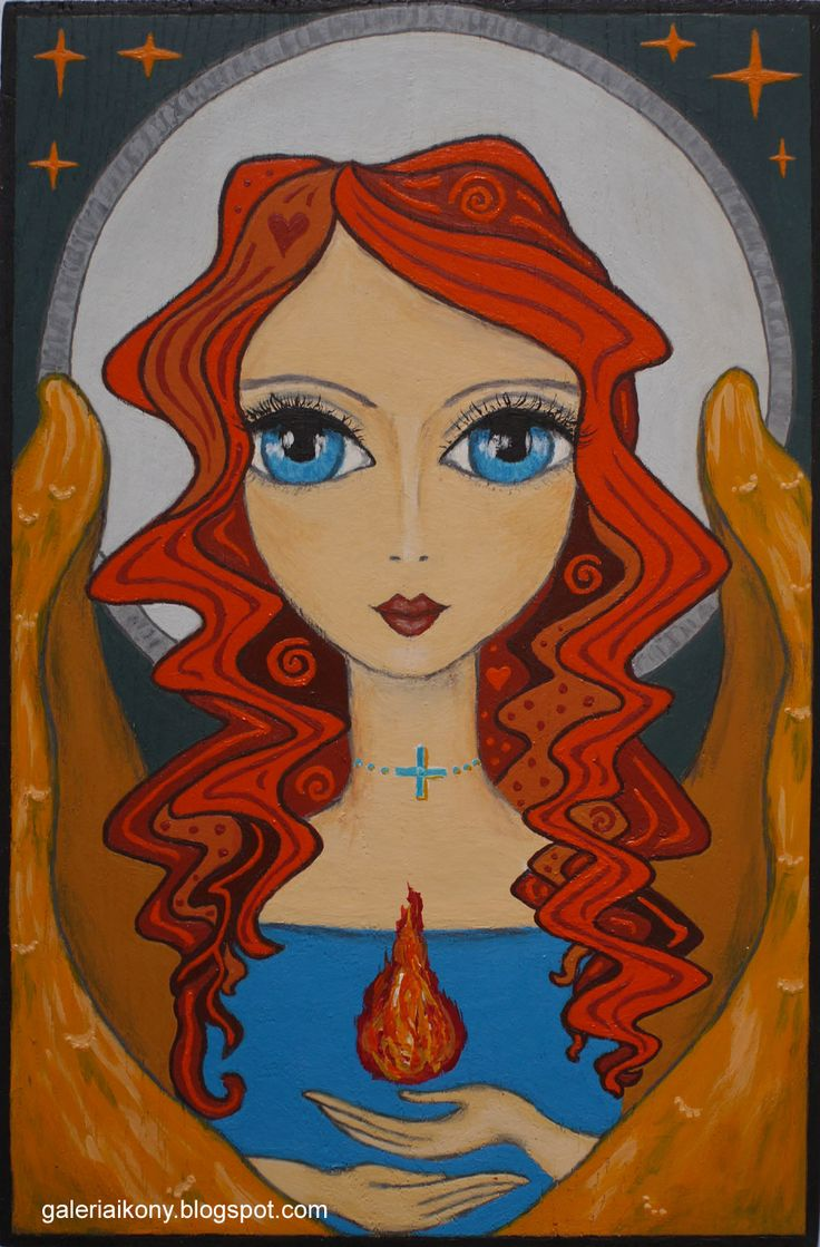 Angel bringing good energy and light. Acrylic on wooden board.