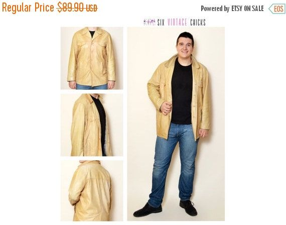 40% Off Xmas Sale Leather Jacket, 90's Vintage Jacket, Classic Style Jacket, Vintage men's Clothing Size L/52 Gift idea for him, Free by SixVintageChicks on Etsy