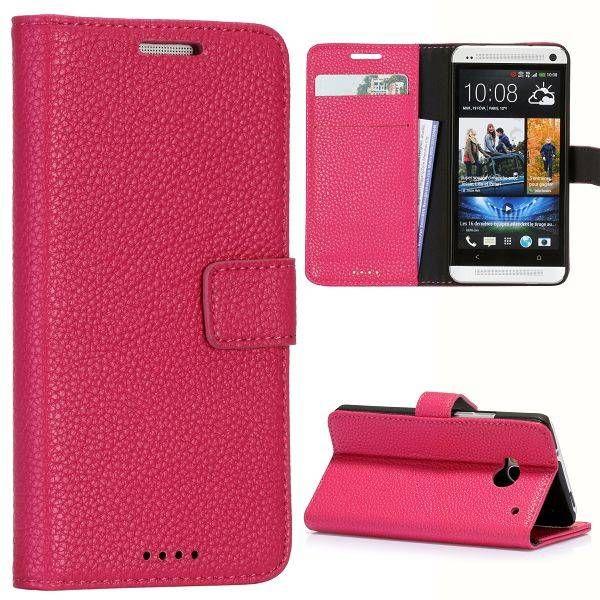 Donkerroze lychee bookcase hoesje HTC One m7