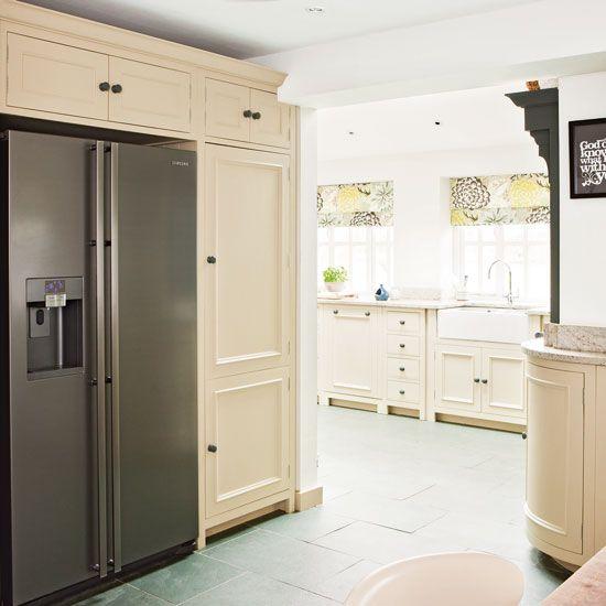 Kitchen with fridge-freezer | Cream kitchen design idea | Neutral kitchen cupboard | Image | Housetohome
