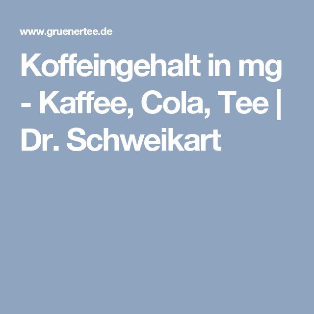 Koffeingehalt in mg - Kaffee, Cola, Tee | Dr. Schweikart