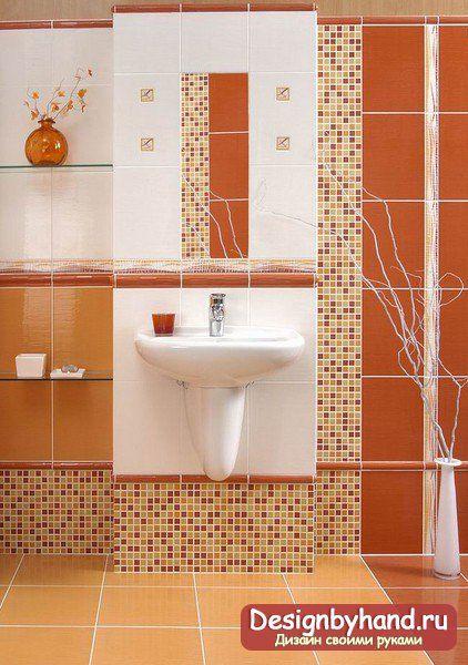Плитка для ванной в красном и розовом тонах фото