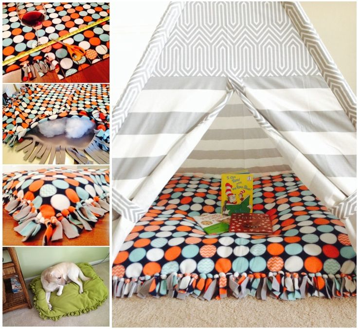 Diy No Sew Floor Pillow Floor Pillows Diy Dog Blankets