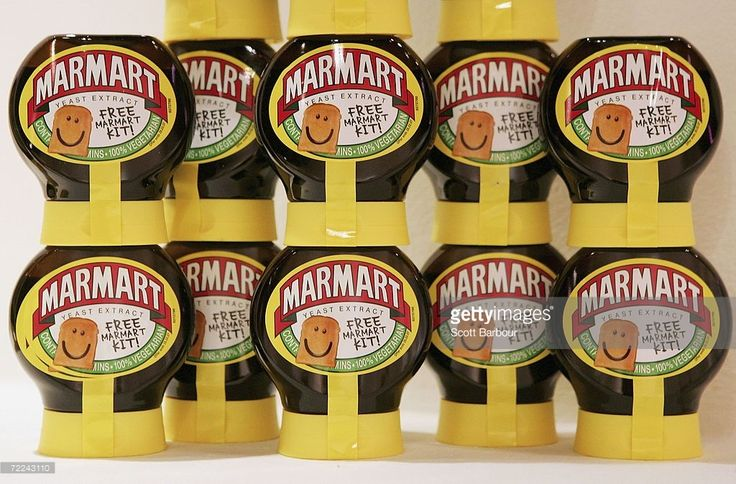 Jars of Marmite sit on display during the Marmart exhibition at the Air Gallery on October 23, 2006 in London, England. Artist Dermot Flynn has produced a series of portraits using toasted bread and Marmite. Visitors are also encouraged to to use toast as a canvas and create their own works at the gallery. Marmite is a British savoury spread made from yeast extract, traditionally eaten as a spread on bread, toast, and savoury biscuits.