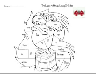 Free Lorax Dice Game Addition printable