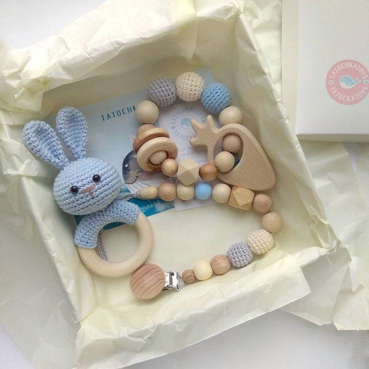 Baby Boy Geschenkbox aus Holz Hase Beißring Geschlecht offenbaren Party Shower Geschenkbox