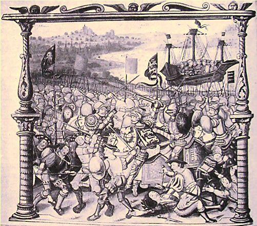 1498,Bataille de Barnet.Edward IV defeats the Earl of Warwick at Barnet, Manuscript by Philippes de Commynes, stored at Dobrée museum,Nantes. Эдуард IV подавил все выступления и принудил шотл.власти выдворить из страны Ланкастеров,к-рые бежали во Францию.В числе ближ.его сторонников был влият.гр.Уорик,но разногласия по поводу политики испорт.их отнош.Уорик планировал женить короля на принц.Боне Савойской,доч.Людовика,герц. Савойи,союзника Франции,и,т. обр., добиться союза 2х королевств.