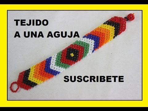 COMO HACER UNA PULSERA HUICHOL//pulseras en mostacilla - YouTube