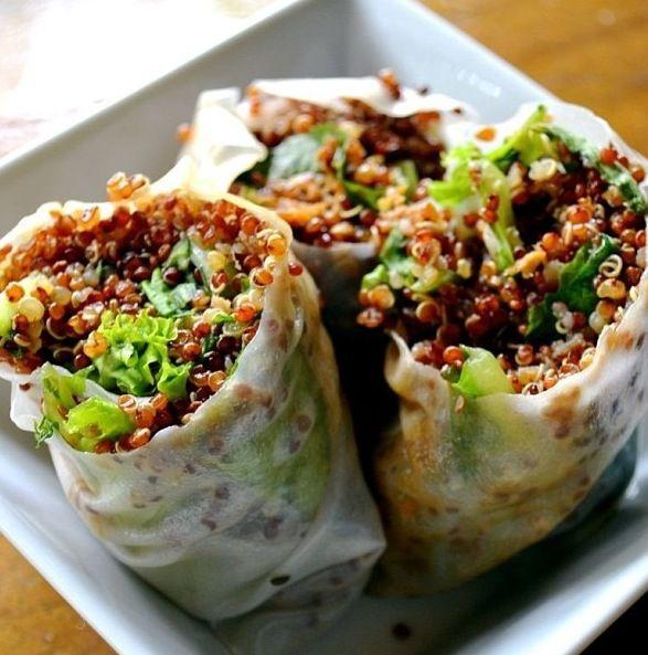 Sesame quinoa springrolls