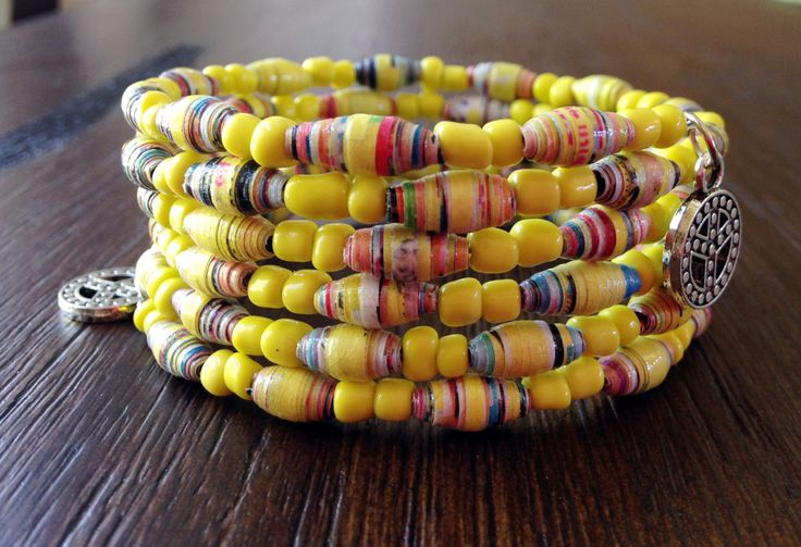 Handmade Yellow bracelet, Paper bead bracelet, OOAK jewelry, Wire wrap bracelet, Fashion trend, Memory wire bracelet by JoannaJeanne on Etsy