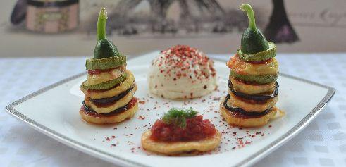 Sebze Kulesi Malzemeler: 2 adet kabak2 adet patates2 adet patlican1 kase domates püresi1 yemek kaşığı zeytinyağSüzme yoğurtKırmızı pul biberKekikTuzDere otu Hazırlanışı1- Sebzeleri çok kalın olmayacak şekilde enlemesine kesin.2- Kabağın saplarını süsleme için ayırın, daha dekoratif olmasını isterseniz salatalıkların saplı baş kısımlarını da kullanabilirsiniz.3- Fırında tüm sebzeleri pişirin.4- Domates püresini zeytinyağ, tuz ve kekik ile karıştırıp soteleyin.5- Sebzeleri büyükten küçüğe…