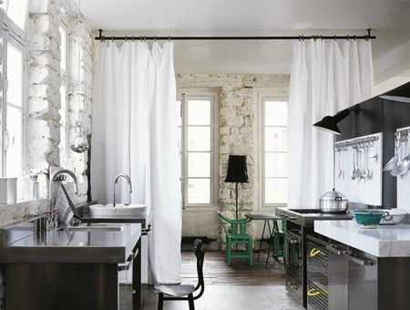 Curtain Room Dividers In Lofty Spaces | photo Andrea Ferrari | via Elle Décor | House & Home