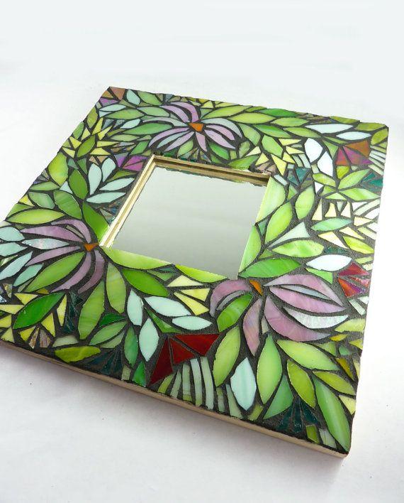Mosaic Mirror Midnight Garden by glassetc on Etsy,  @Dana Armstrong Hee Bird