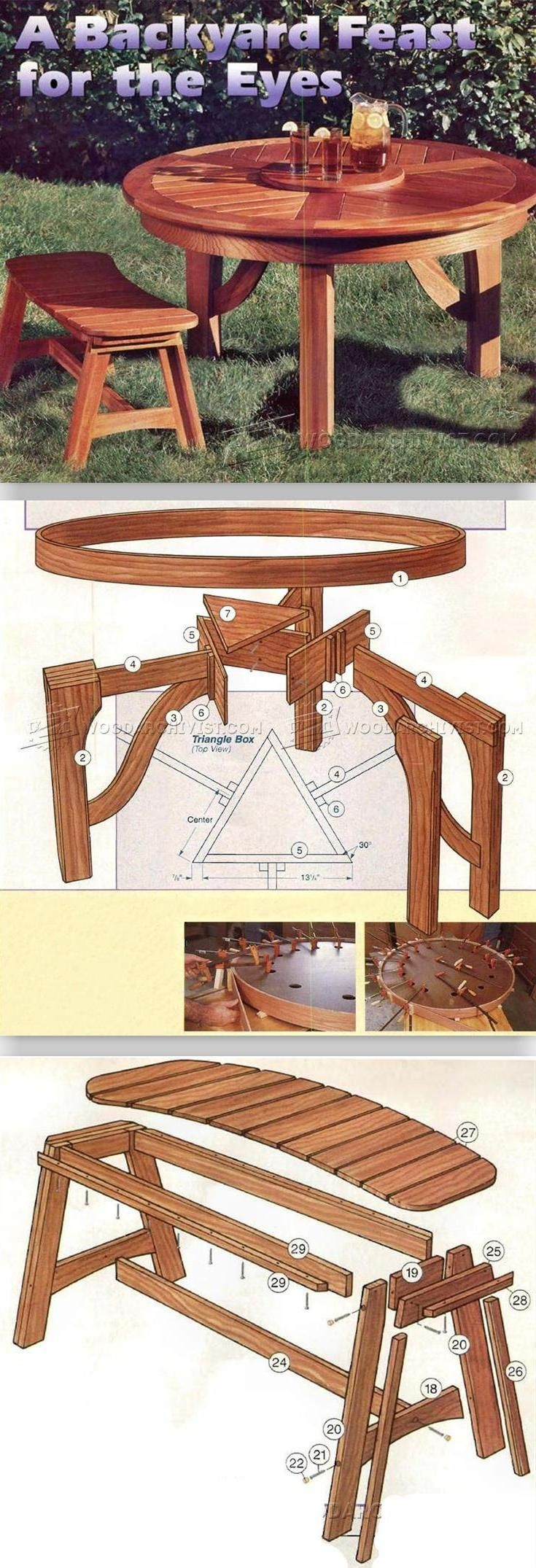 Round Picnic Table Plans - Outdoor Furniture Plans and Projects | WoodArchivist.com