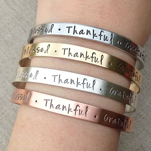 Made in USA -  Blessed Thankful Grateful Cuff Bracelet