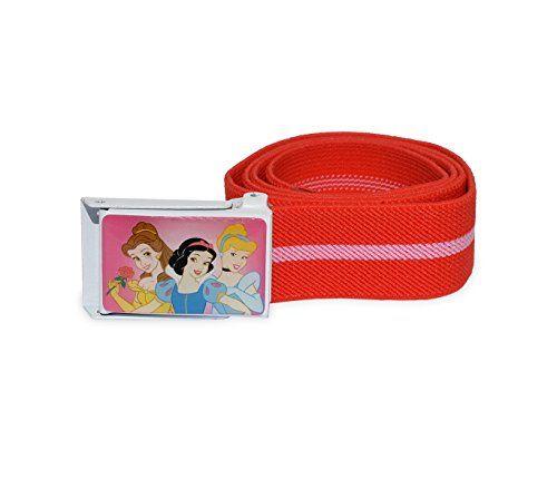 MWS2464 305884 Cinturón infantil para niña con motivo de PRINCESAS DISNEY (75 cm de longitud) (ROJO) #camiseta #friki #moda #regalo