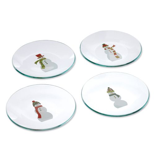 Snowmen Round Appetizer Plates - The Pampered Chef™