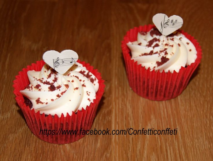 Vintage Sheet Music Heart Cupcake Toppers