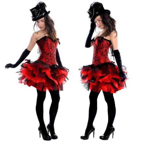 Black Red Designer Mini Burlesque Moulin Rouge Costume TuTu Skirt on Etsy, $24.55