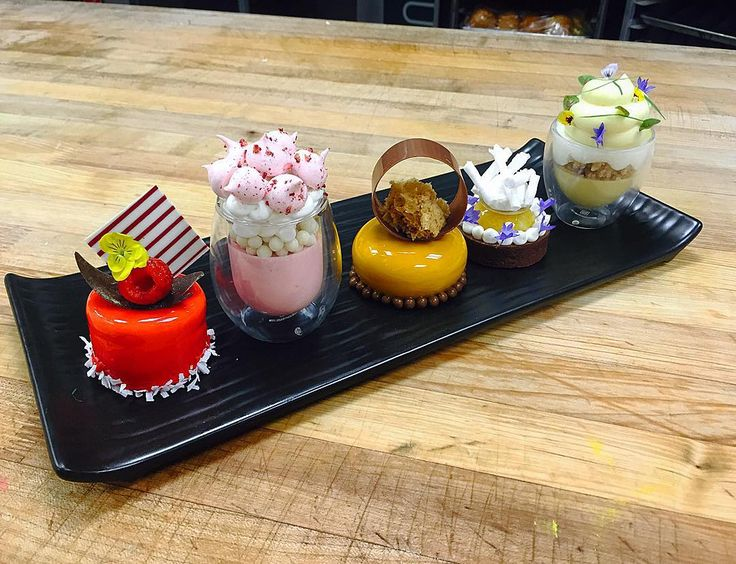 1- Raspberry mojito Petit Gateaux 2- Strawberry and Cream Verrine 3- Gianduja…