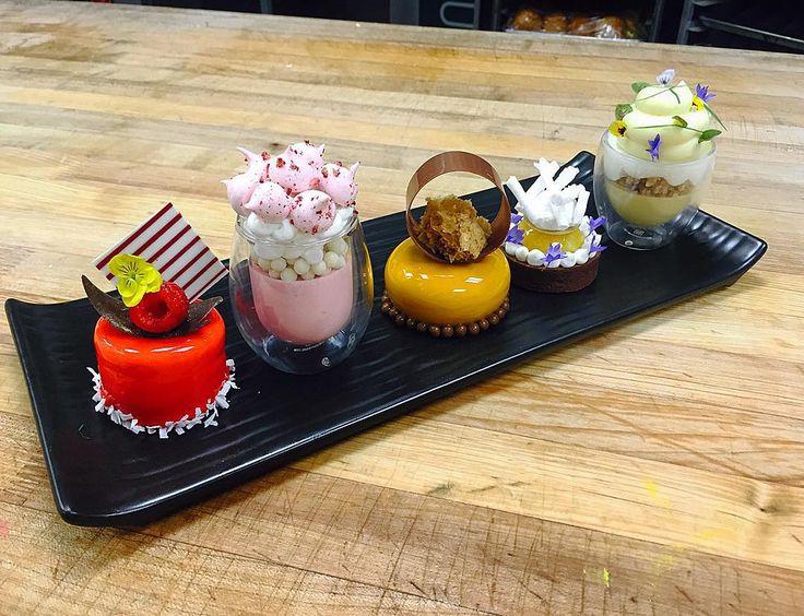1- Raspberry mojito Petit Gateaux 2- Strawberry and Cream Verrine 3- Gianduja…
