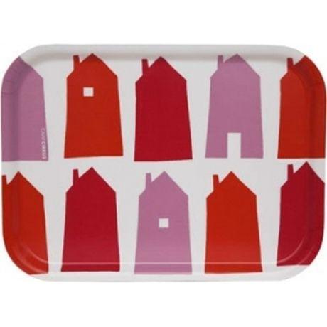 Taca prostokątna w domki, czerwona