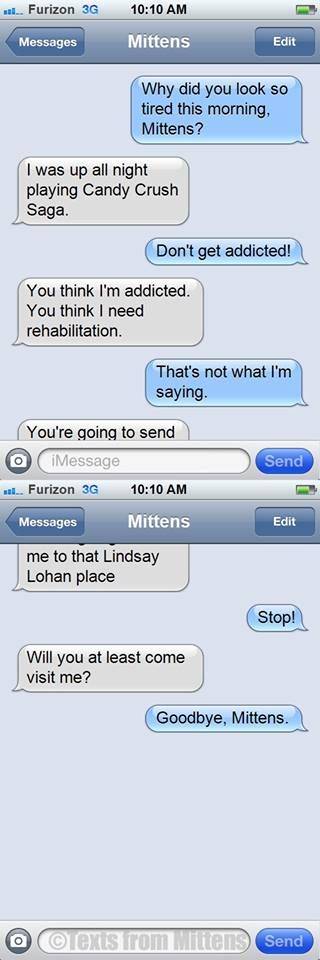 Texts from mittens–Candy Crush addiction