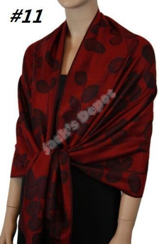 Women Cashmere Silk Wool Pashmina Scarf Shawl Wrap Cape 28X74 Inch 089 Series 11