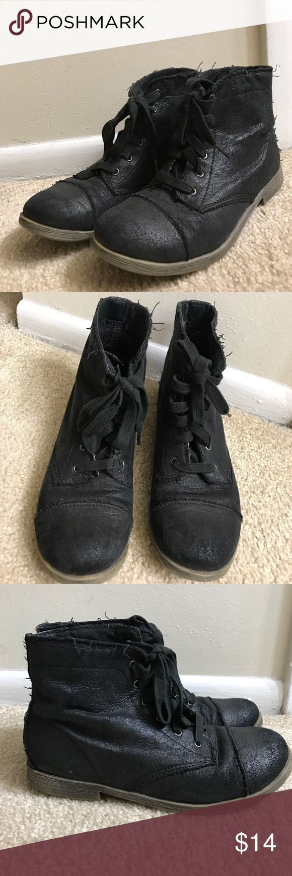 Black ankle combat boots Black ankle combat boots. Well-loved. This pair has been resoled! Purchased at Nordstrom Rack. Nordstrom Shoes Ankle Boots & Booties