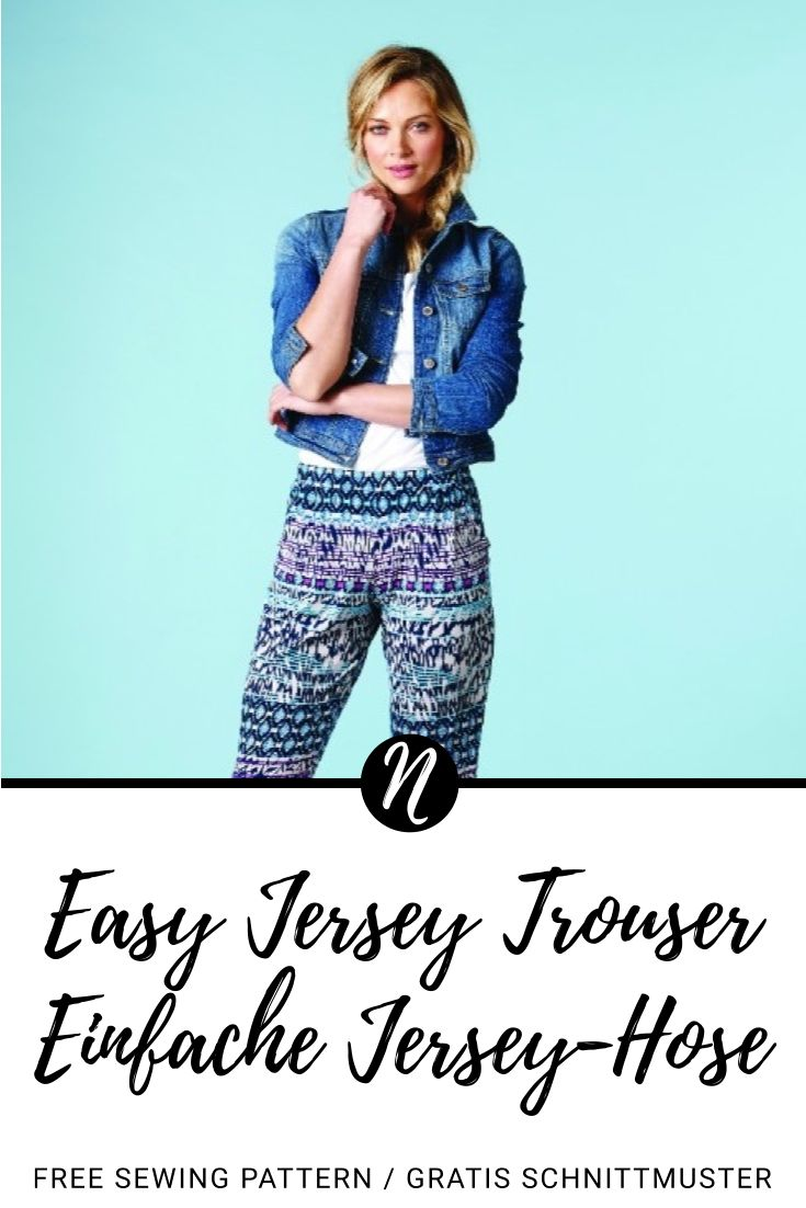 Einfache Jersey-Hose für Damen - Kostenloses Schnittmuster in Gr. 36 - 48. PDF-Schnittmuster zum Drucken. ✂️ Nähtalente - Das Magazin für Hobbyschneider/innen ✂️ Easy Jersey Trouser for woman - Free sewing pattern in size 8 - 20. PDF pattern for print at home.