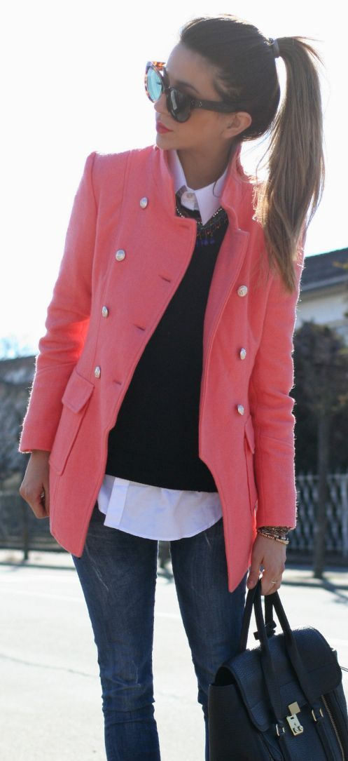Pink Coat / Jacket over Sweater and Button Down Shirt - Sunglasses - Hair Inspiration