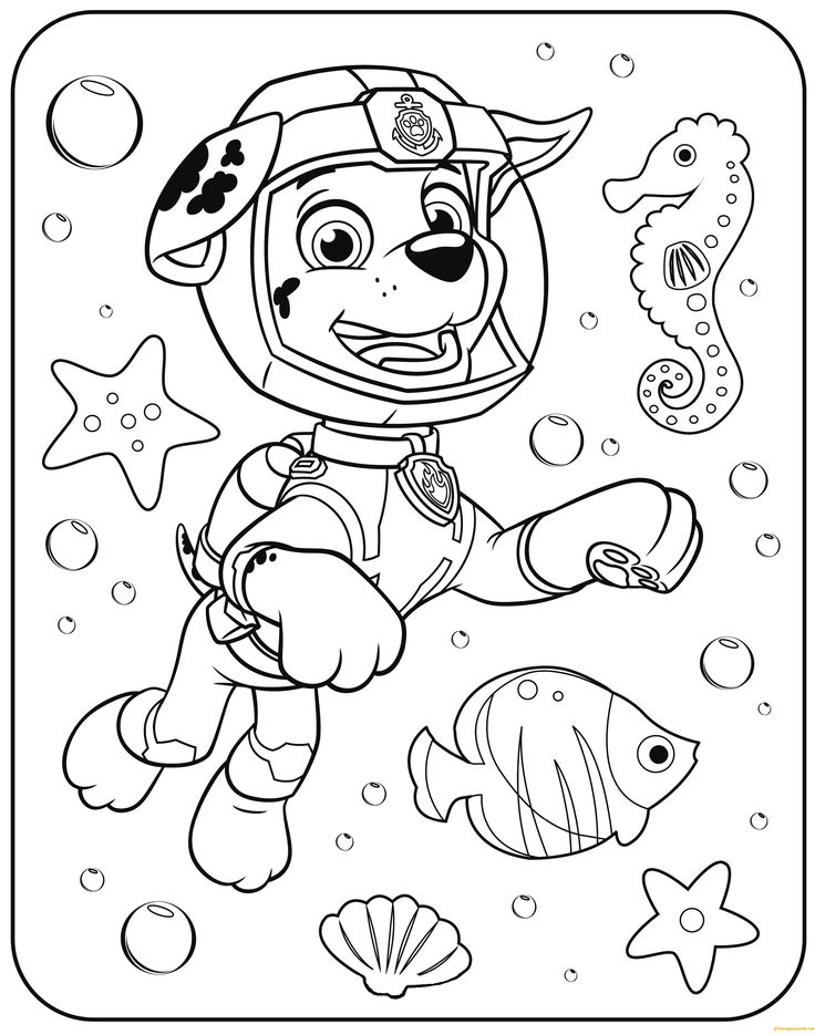 paw patrol marshall underwater coloring page  free