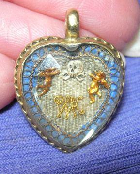 1703: Stuart Crystal Heart Memento Mori Locket with hairwork. Memorializing a deceased infant.