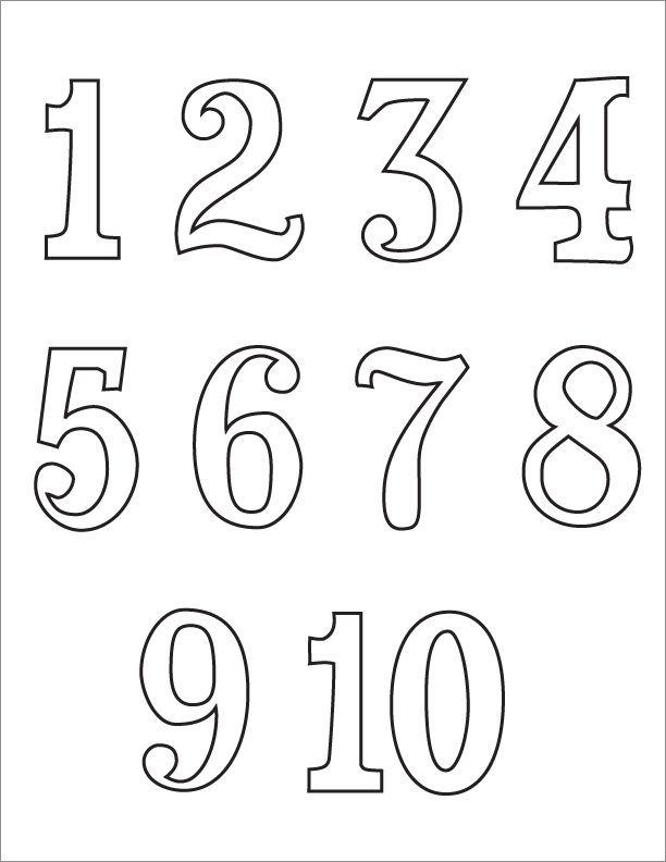 Book Coloring Number Coloring Pages 1-10 at   Big Bubble Numbers Clipart - Clipart Kid