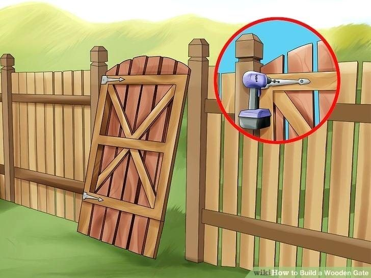 Wood Fence Gate Latch Lowes Wooden Fence At Lowes Image Titled Build A Wooden Gate Step 10 Wood Fence Gate Wood Fence Gates Building A Wooden Gate Wooden Gates