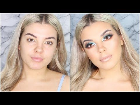 Jaclyn Hill X Morphe Brushes Palette Blue Makeup Tutorial ♡ Jasmine Hand - YouTube
