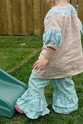 THE SEWING DORK: How to Make Ruffle Leg Pants. Perfect for my tall little girl whose pants get too short.  Just add ruffles!!!