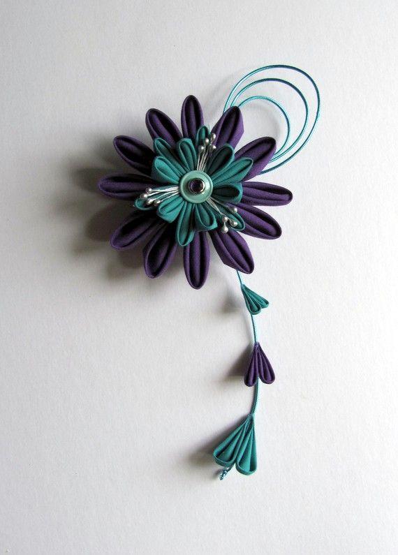 Purple & Aqua Kanzashi Hair Fascinator Custom made by EmjoyShop, $40.00