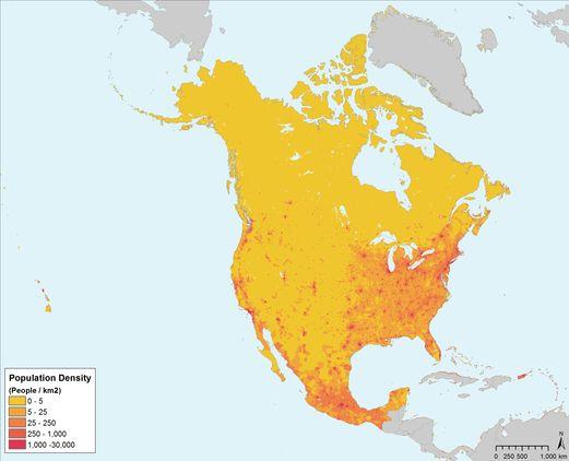 CCE - Atlas environnemental de l'Amérique du Nord: Densité de population, 2000
