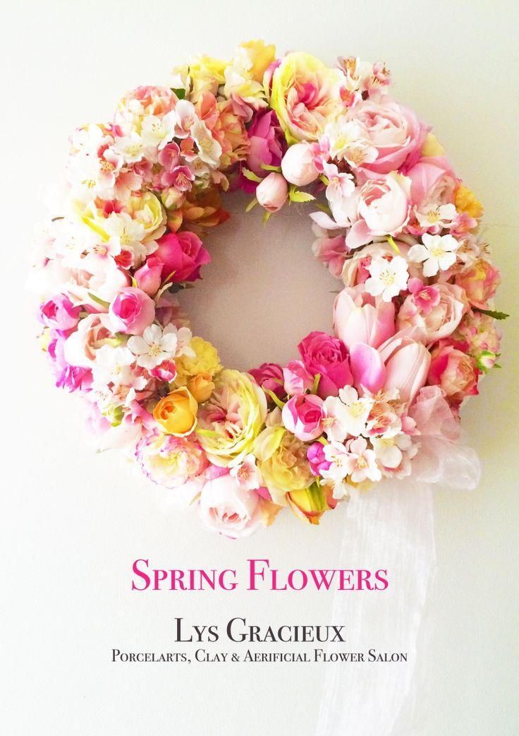 ★Spring Flowers Wreath☆ 札幌ポーセラーツ・フラワー・クレイLys Gracieux〜リスグラシュ〜